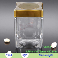 620ml square shaped PET plastic food jar packaging pistachio nuts / coffee with square lid