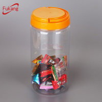 1.3L plastic food packing jar with colored screw top lids