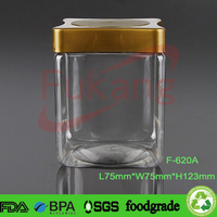 620ml pet plastic bottle manufacturers square dry food plastic jars with square lid