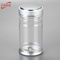 200ml boston round Aluminum Lid Clear PET Plastic pill Jar Wholesale