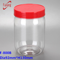 800ml cylindrical PET food bottle/jar/container with handle lid clear toy paint can